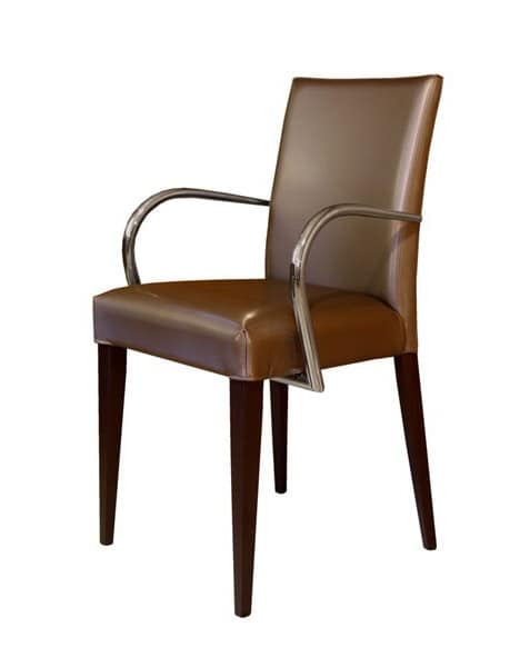 M19, Modern wooden armchairs with arms, upholstered, for dining rooms