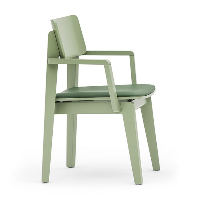 Offset 02822, Versatile chair with armrests available in various finishes