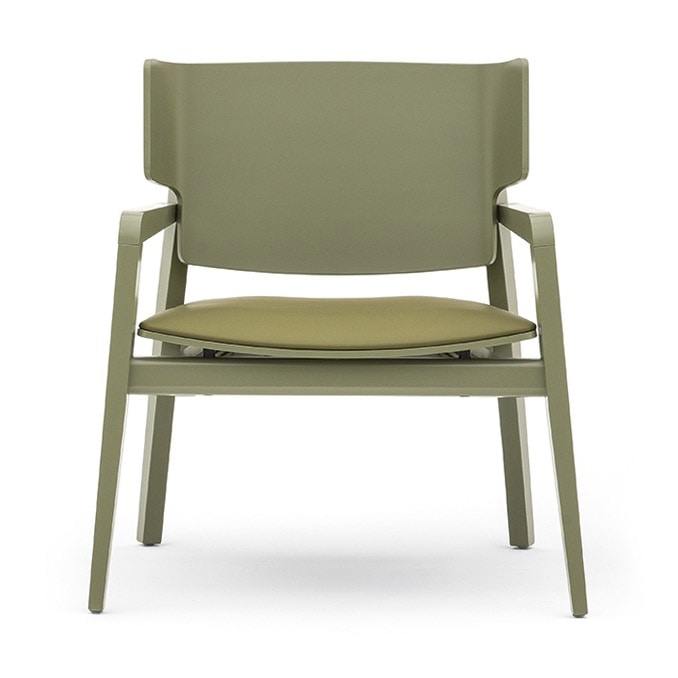 Offset 02842, Armchair in solid wood, upholstered seat, modern style