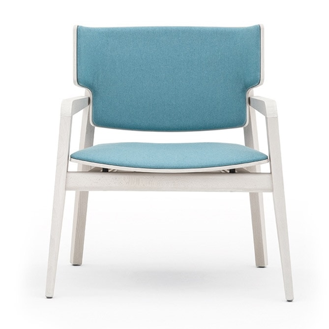 Offset 02843, Armchair in solid wood, upholstered seat and back, in a modern style