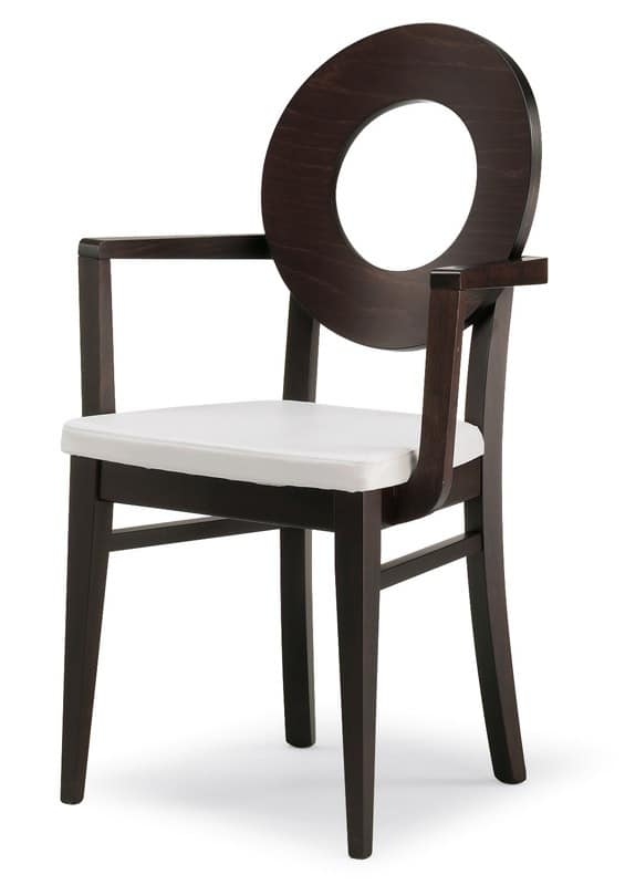 PL 47 / UHP, Chair with wooden back and upholstered seat, in various colors