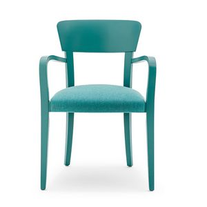Steffy 00421, Armchair wit arms in solid wood, upholstered seat, for contract use