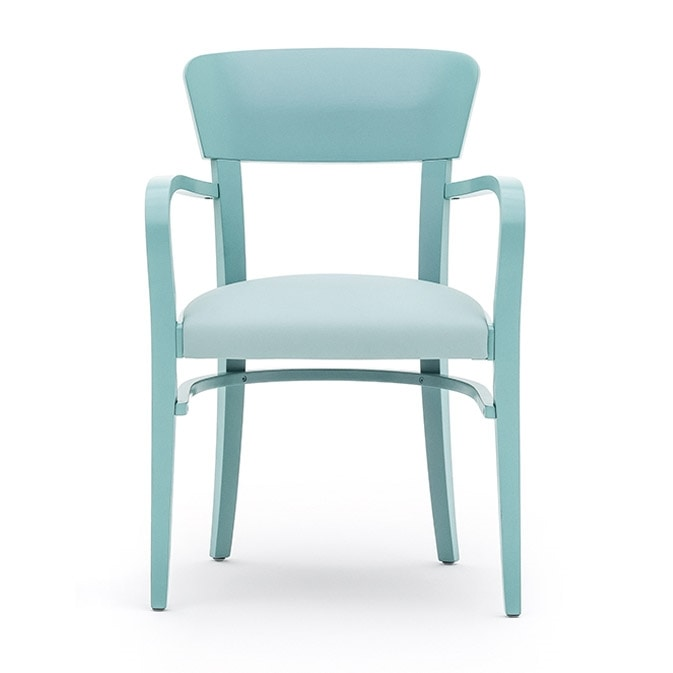 Steffy 00422, Armchair with arms in solid wood, upholstered seat, for contract and domestic use