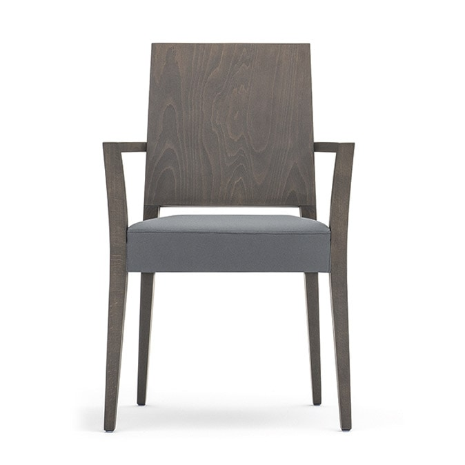 Timberly 01721, Stackable armchair with arms, solid wood frame, upholstered seat, covering with fabric, for dining rooms
