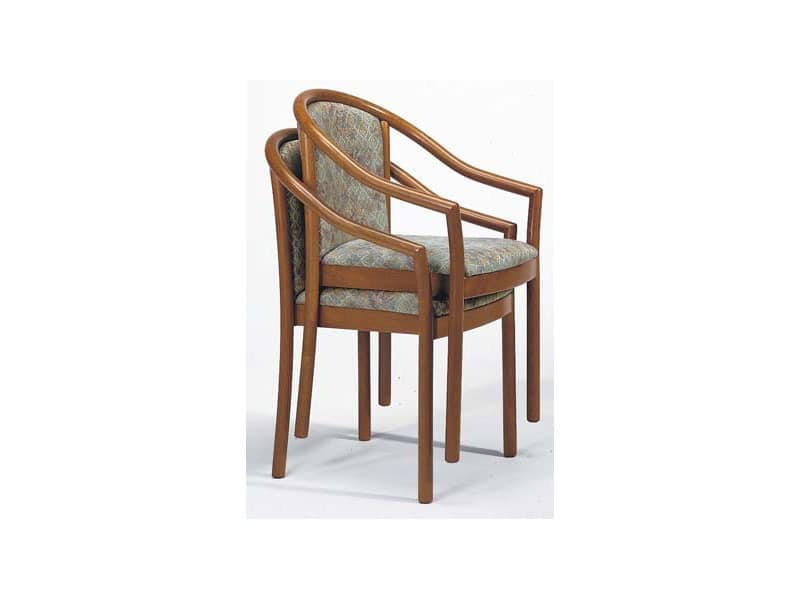 176 IMP, Padded stacking chair, wooden, for bars