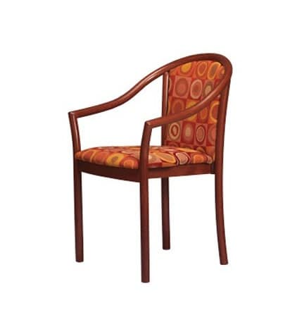 405, Padded chair with armrests, in beech, for restaurants