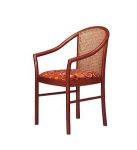 406 C, Armchair with cane back for living room