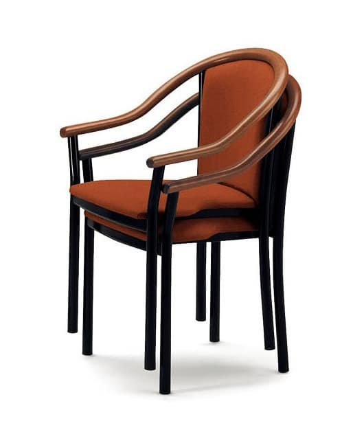 408, Chair with armrests, elegant and classic, for bars