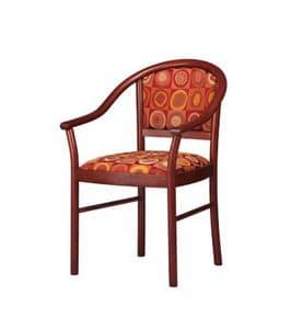 409, Chair rounded with armrests, padded, for lobby