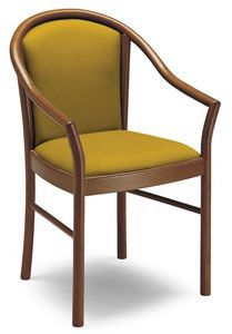 C11, Classic armchair with arms, in solid wood, for restaurants