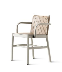 ART. 0022-CU-LE-AR JULIE, Chair with armrests, with woven leather