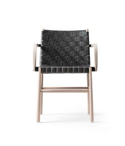 ART. 0023-CU-AR JULIE, Wooden chair with armrests, covered in leather