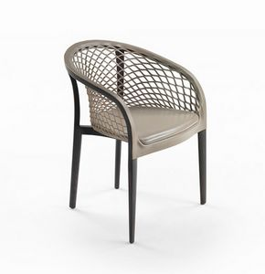 Elektra Wood, Chair with shell in carved leather