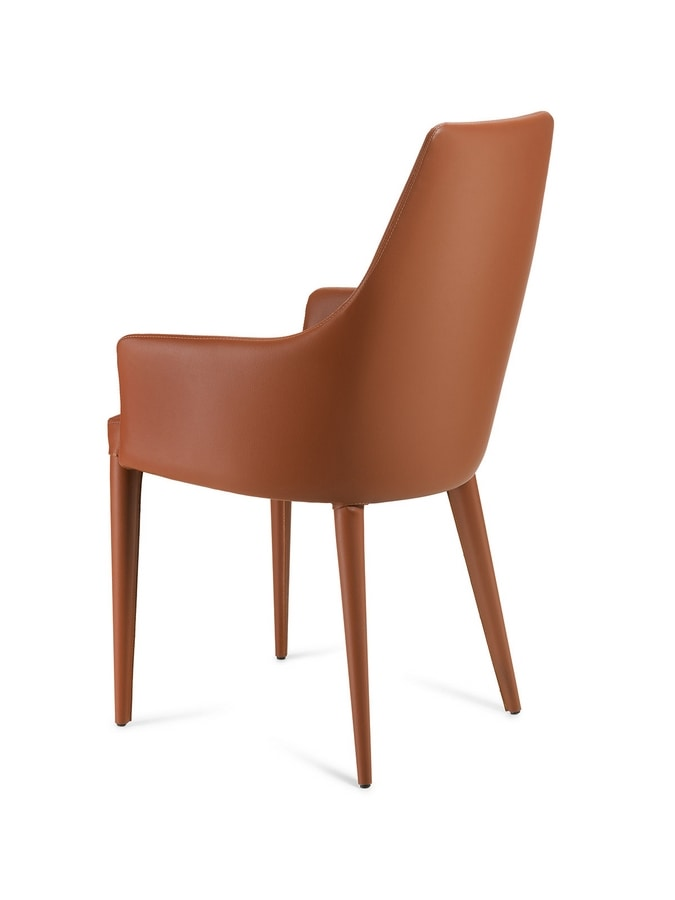 Evelin br, Chair completely covered in leather