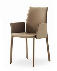 Giselle-BP, Leather chair, with armrests and low back
