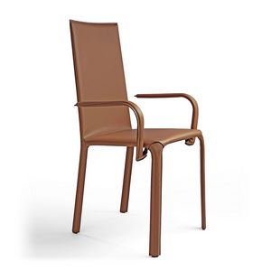 Jenia c/arm, Chair with armrests, leather seat, for hotels