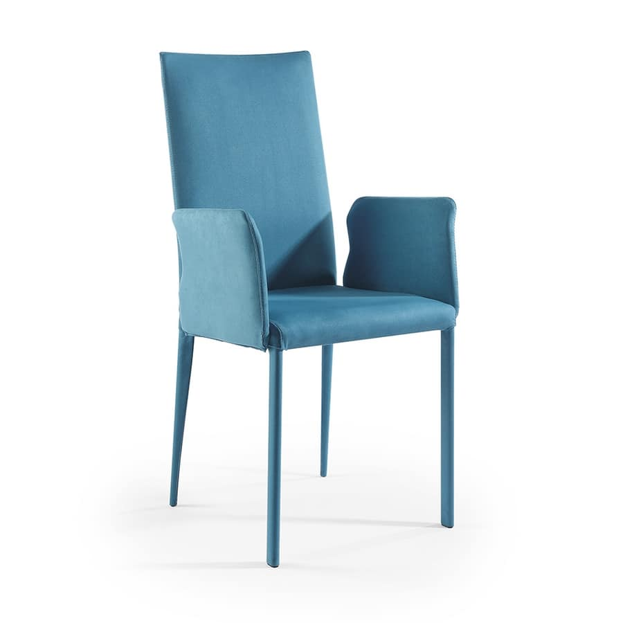 Jury high BR, Modern chair with arms and Suede fabric covering
