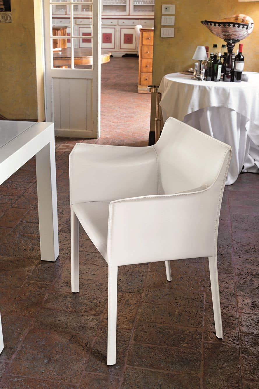 MARSIGLIA PT607, Upholstered armchair covered in leather for dining rooms and bars