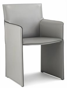 Pasqualina lounge armchair 10.0088, Small armchair with sides covered in leather