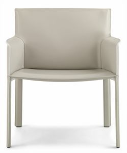 Pasqualina relax armchair 10.0089, Small armchair with large seat, in leather