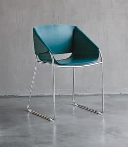 SIMPLY, Leather chair with cantilever base, dining room