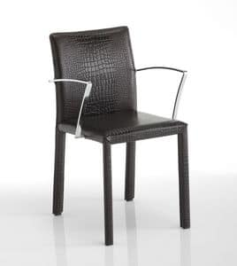 Sissi, Chair with armrests, leather upholstery, available in different colors