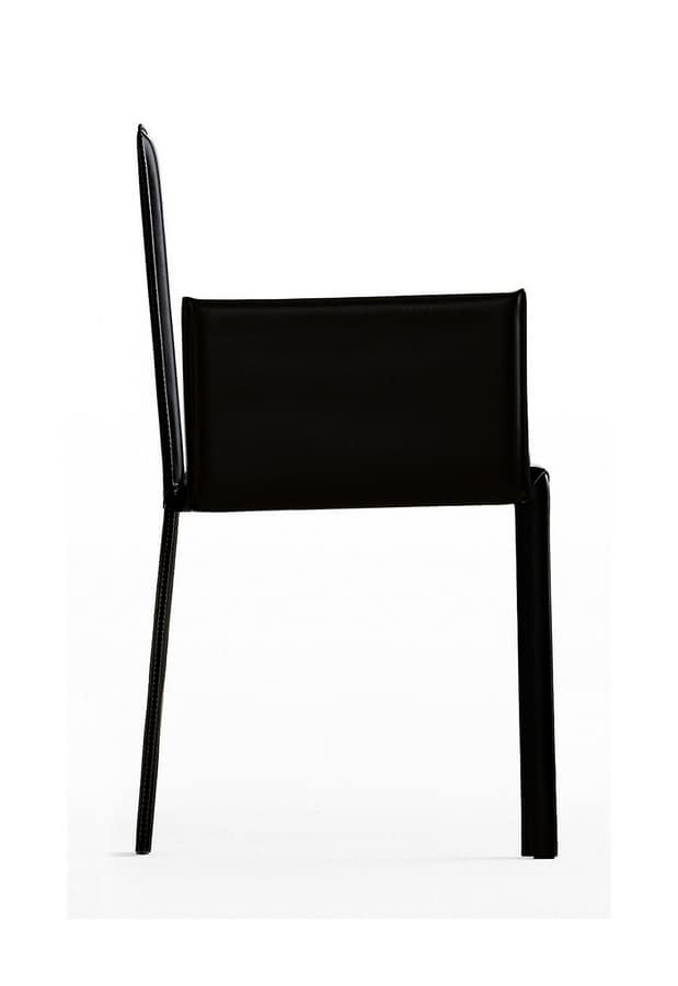 Slim with armrests, Armchair fully covered by hand in leather