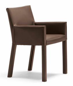 Trama small armchair 10.0183, Modern small armchair upholstered in leather