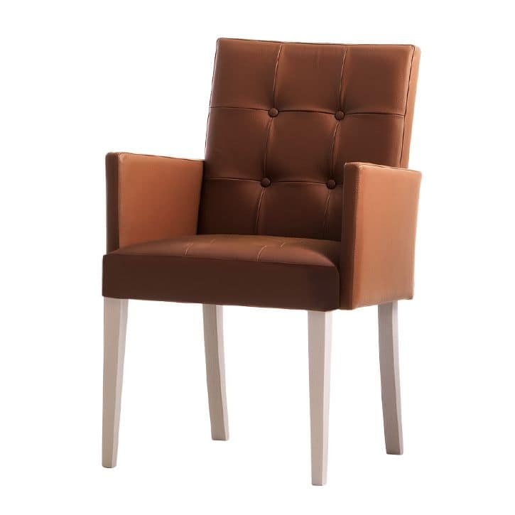 Zenith 01639X, Armchair with arms with wooden frame, upholstered seat and back, capitonnè leather cover, for contract and domestic use