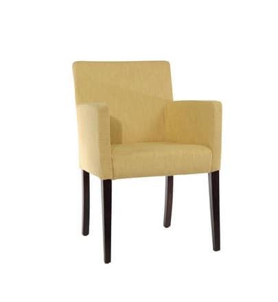 421, Upholstered armchair, linear style, for modern living room