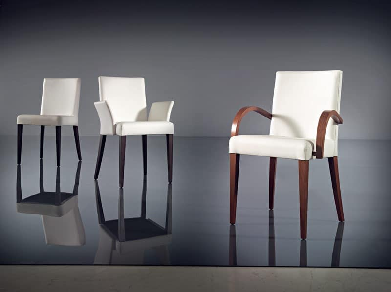 ART. 227 FLORANCE, Chair with armrests, modern, beech wood and leather, hotel