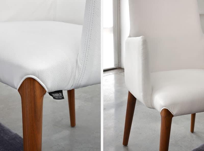 ART. 253/B INES, Modern small armchair, padded, wooden legs