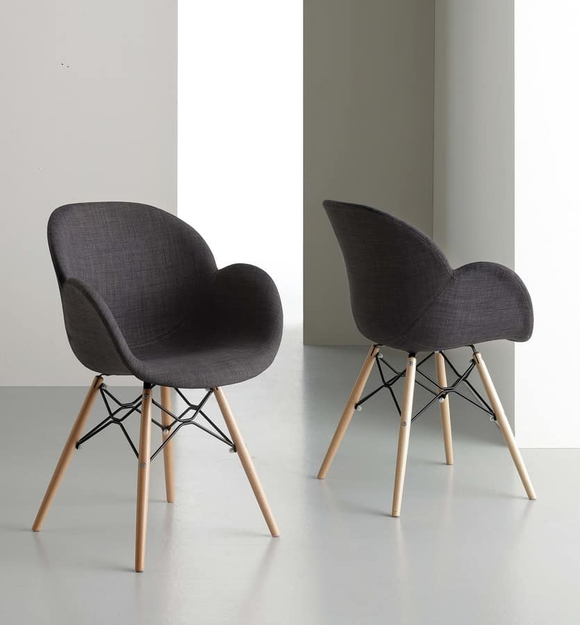 Art. 293 Lotus Dress, Dining chair upholstered with chambray cotton fabric