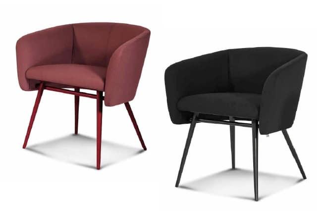ART. 0052 BALÙ Met, Armchair with metal base, coned legs