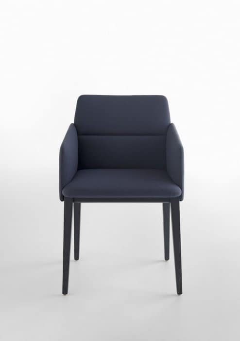 Aura P/4W, Armchair with armrests with wooden structure