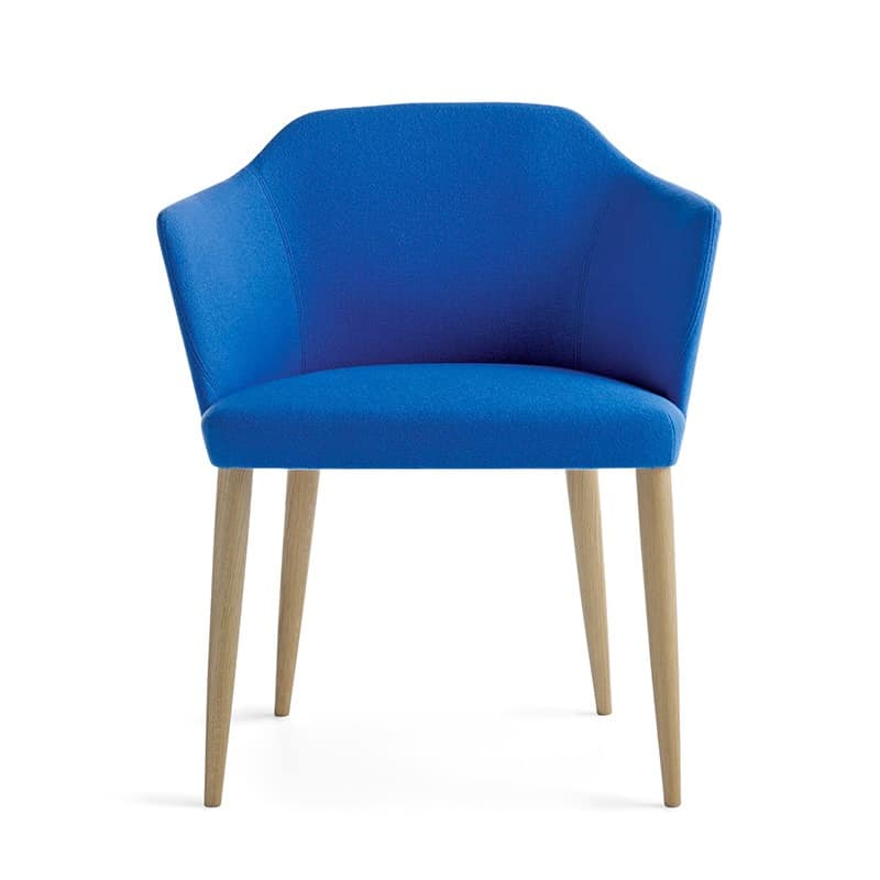 Axel 80 4L FU, Modern armchair with solid wood legs, for hotels