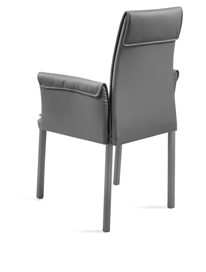 Borso XL, Upholstered armchair with square tube, for restaurants