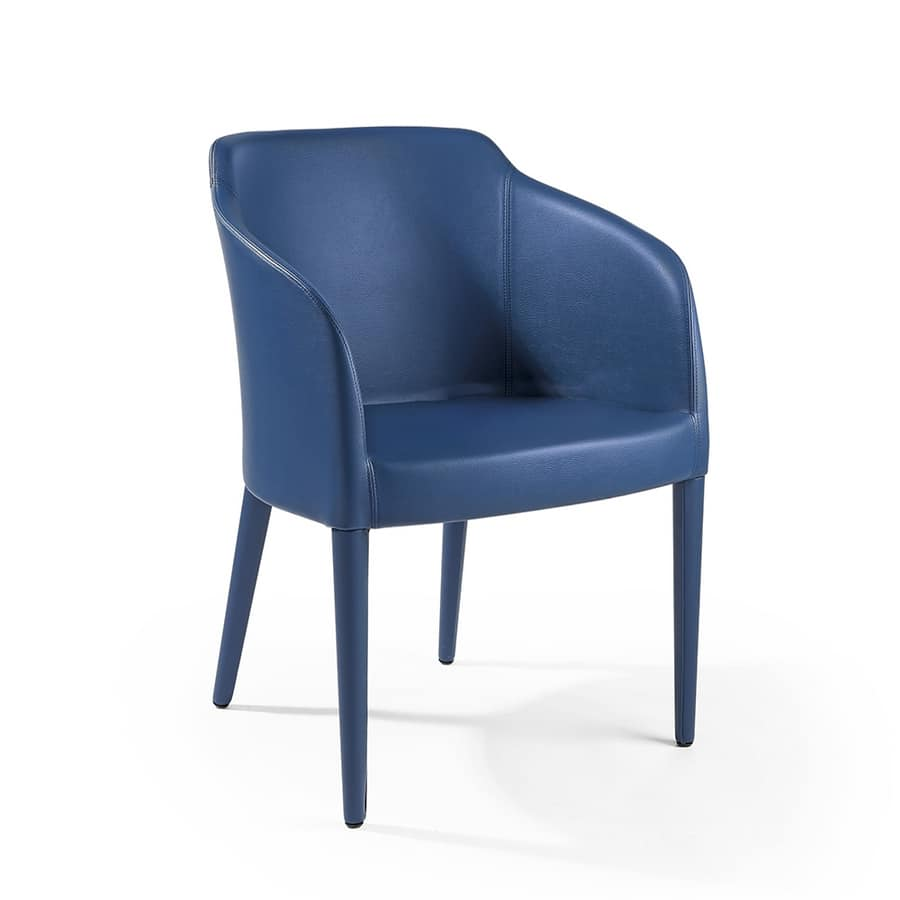 Brigitte pl fully covered, Tub chair with leather upholstery