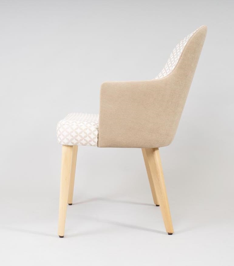 BS438A - Chair, Padded chair with beech legs