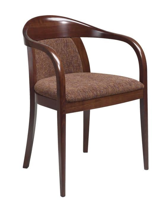 C25, Bentwood armchair with arms, upholstered seat and back, leather covering, for contract