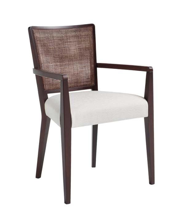 C39, Armchair with arms in solid wood, upholstered and fabric covering seat, mesh backrest, for contract use