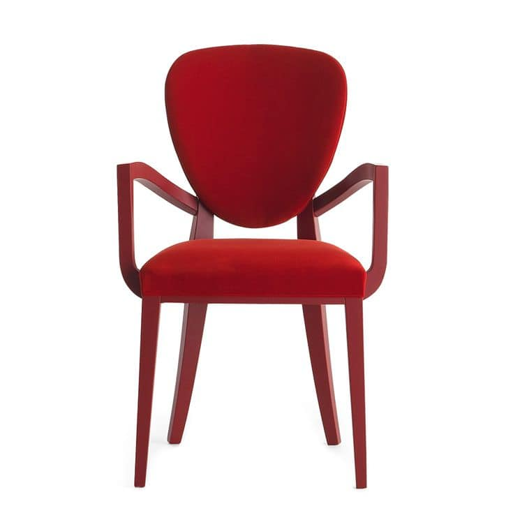 Cammeo 02621, Armchair in solid wood, upholstered seat and back, fabric covering, modern style