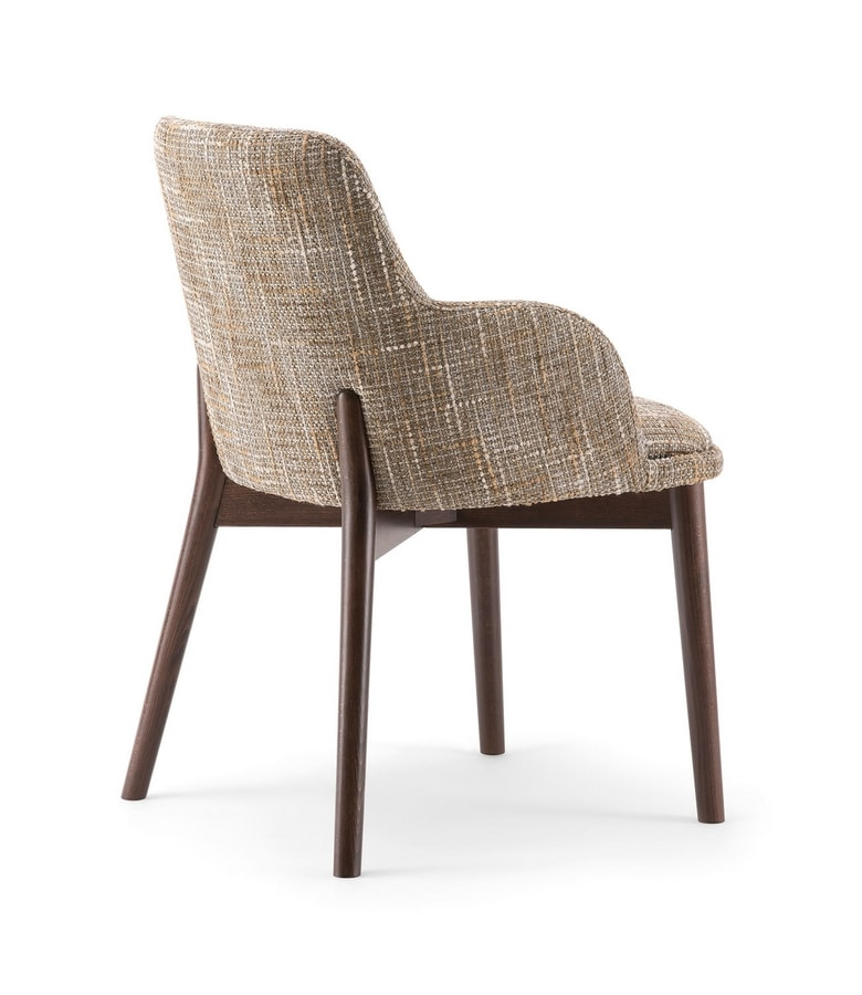 CELINE DINING CHAIR 077 PO, Armchair with solid beech legs