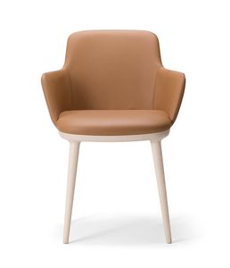 CLO� ARMCHAIR 025 P, Armchair with legs in brushed wood