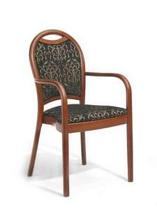 Desiree P, Wooden chair with armrests, padded, for bakeries