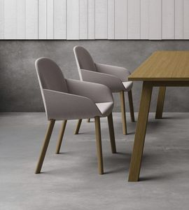Elba P_4W/FU, Small armchair with wooden legs