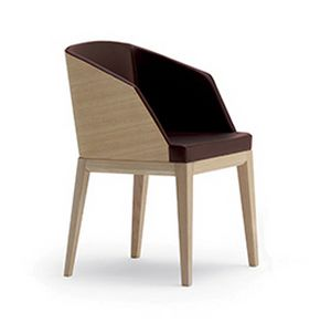 Elly Wood P, Padded small armchair, with back side of the backrest in wood
