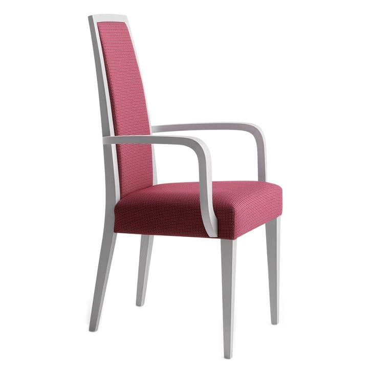 Erminio 00321, Armchair with arms in Solid wood, upholstered seat and back, fabric covering, for contract use