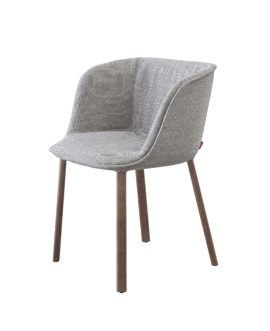 Esse small armchair, Padded small armchair with wooden legs, in various finishes