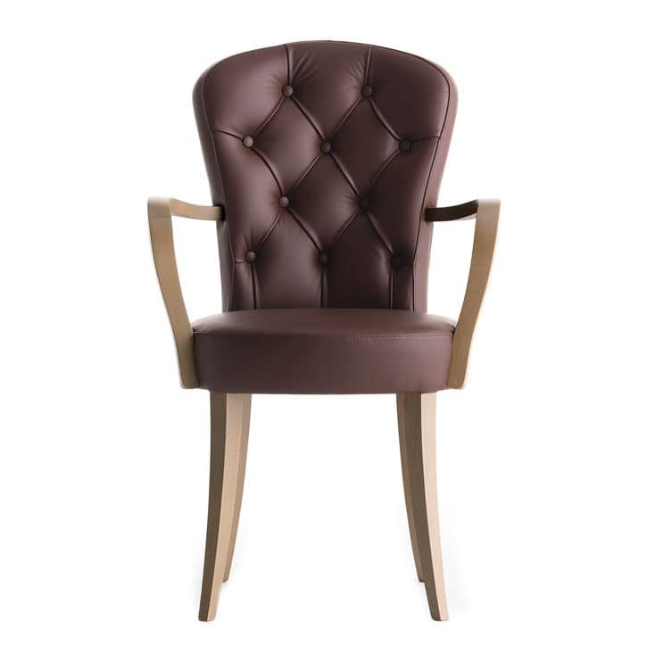 Euforia 00121K, Armchair with quilted backrest and wooden armrests